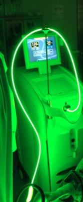 Láser verde en funcionamiento